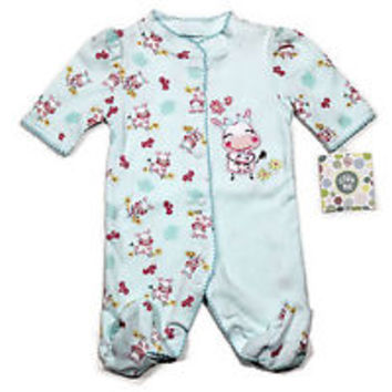 Baby Girls Infant Blue /Pink Soft Warm Cow & Caf Sleep PJ Pajama From Little Me