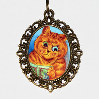 Cat Reading Book Necklace, Cat Jewelry, Louis Wain, Book Jewelry, Oval Pendant