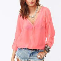 Neon Wrap Blouse - Pink