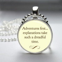 Photo Art Glass Bezel Pendant Adventures First Alice In Wonderland Necklace