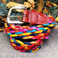 vintage colorful braided leather belt. size S to L. fall fashion
