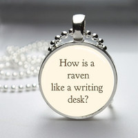 Photo Art Glass Bezel Pendant Raven Like A Writing Desk Alice In Wonderland Necklace