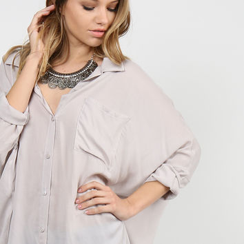 Button Up Dolman Blouse - Gray - Small