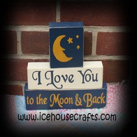 I Love You To The Moon and Back Sitter Blocks, Nursery, Playroom, Chi