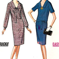 1960s Slim Dress Vintage Sewing Pattern, V-Neck Collar, Office Fashion, McCall&#x27;s 7436  Bust 34&quot;