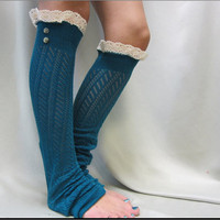 NEW TEAL lace leg warmers ivory knit / lightweight crochet knit  great with cowboy combat boots by Catherine Cole Studio legwarmers