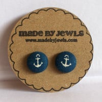 Anchor's Away Fabric Covered Button Earrings
