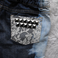 OOAK Custom dipped, laced & studded tumblr inspired hipster shorts