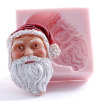 Santa face silicone mold - Fondant Santa face mold - Gum paste Santa mold - Santa face food mold - baby shower mold