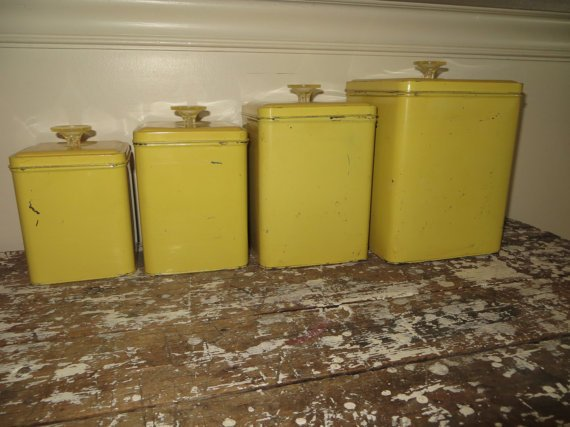 Vintage Canisters Yellow Canister Set from VintageShoppingSpree