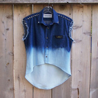 High low denim shirt, sleeveless dip dye ombre bleached denim shirt, cone studs studded vest, native American trim, thunderbird southwestern