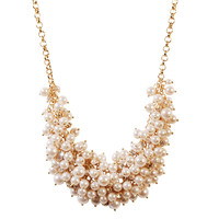 White Girl's Bubble Pearl Cluster Jewelry Statement Necklace