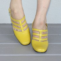 Vintage 1960s Lemon Yellow Strappy MARY JANES by FoxyBritVintage