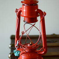 red metal lantern vintage hanging barn railroad by TheGinghamOwl