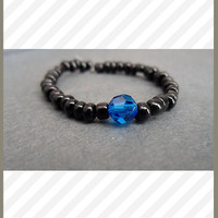Black Crystal Ring w/ Blue Swarovski Crystal