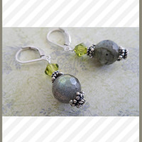 Labradorite Earrings, Sterling Silver
