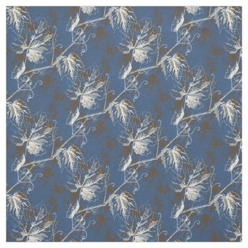 Vintage Cream Brown Grapevine Blue Fabric