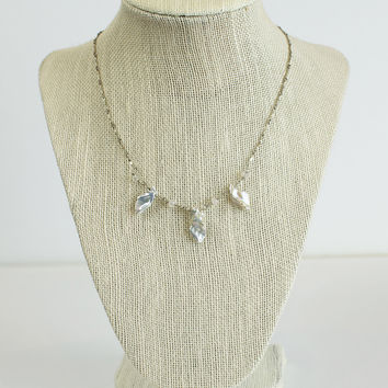 Sterling Moonstone Pearl Necklace