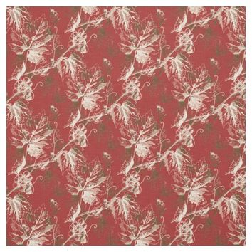Vintage Cream Brown Grapevine Red Fabric