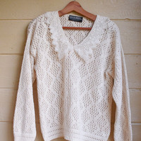 Vintage 1980s White Knitted Sweater Womens David Brett White Sweater
