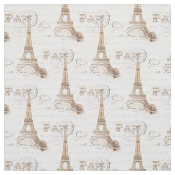 Paris Vintage French Writing Pink Fabric