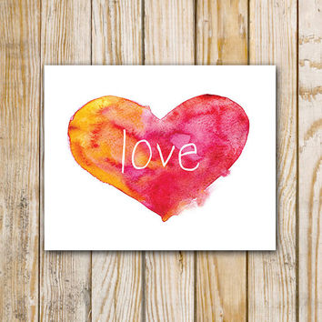 Love Watercolor Instant Download - Art Printable - 8 x 10 - Wall Art
