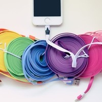 10 Foot Flat Noodle Cable - iphone 4, 5, 6!