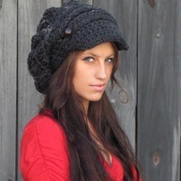 Slouchy Hat Newsboy Cap Two Button Band Charcoal by swakdesigns