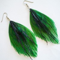 ABSINTHE EARRINGS  Emerald Green and Black by TheHeadbandShoppe
