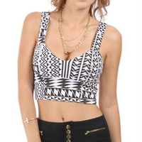 Black/White Geometric Bar Back Cropped Top