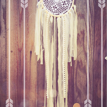 Off White & White Lace Shabby Chic Crochet Doily Boho Hippie Gypsy Nursery Decor Dreamcatcher