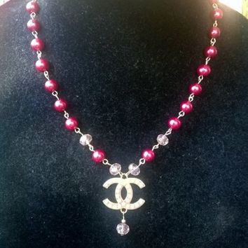 Stunning Designer Inspired Dainty Pearl Crystal CC Pendant Necklace