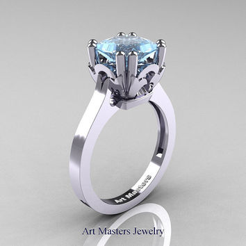 Classic 14K White Gold 2.0 Carat Princess Aquamarine Solitaire Wedding Ring R301E-14WGAQ