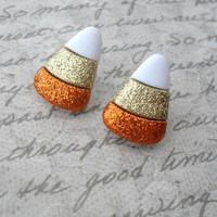 glitter candy corn stud earrings / post earrings, halloween, candy, trick or treat
