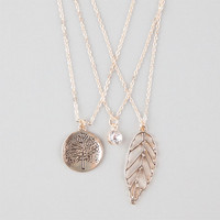 Full Tilt 3 Piece Tree/Rhinestone/Leaf Necklaces Gold One Size For Women 25577962101