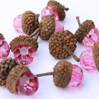 Beaded Acorns Pink Faceted Beads