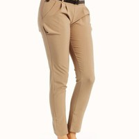 tapered-belted-pants BLACK GREEN GREY KHAKI MUSTARD RED ROYAL WHITE - GoJane.com