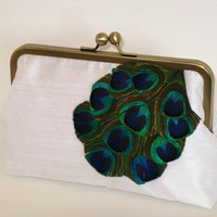 Cascading Peacock Clutch Purse in White by mermaidsdream on Etsy