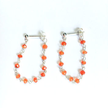 Gemstones Chain Earrings- 14K Gold Fill or Sterling Silver- Carnelian or Green Onyx-