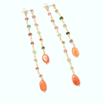 Gemstone Earrings- Tourmaline and Carnelian Front and Back- 14K Gold Fill