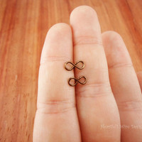 Mini Infinity Stud Earrings, Antique Brass, 20 Gauge