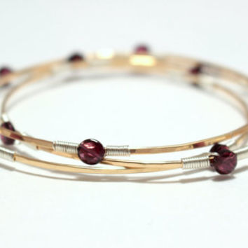 Gemstone Bangles- SET OF 3 - Genuine Garnet and Two Tone Sterling Silver, 14k Gold Fill, and/or 14K Rose Gold Fill