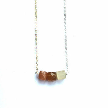 Two Tone Moonstone Necklace- Sterling SIlver and 14K Gold Fill