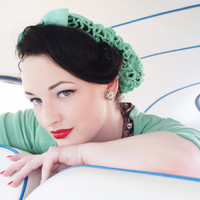 Vintage Retro Pinup Hair Snood in Mint Green Crocheted from 1940's Design NEW Color