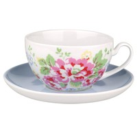 Buy Cath Kidston Cups and Saucers, Spray Flowers, Set of 4 online at JohnLewis.com - John Lewis