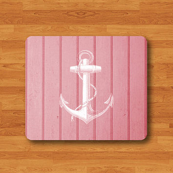 Pink Wood White Anchor Art Wooden Mouse Pad Black Drawing Desk Deco Rubber Pad Christmas Gift