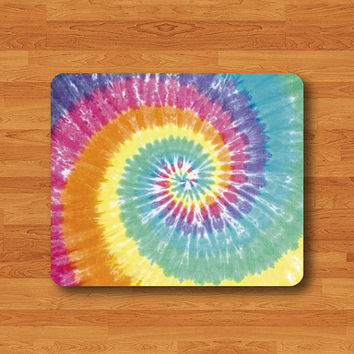 Tie Dye Colorful Fabric Mouse Pad Spiral Rainbow Printed MousePad Rectangle Rubber Mat Personal Gift Desk Deco Computer Pad Chistmas Gift