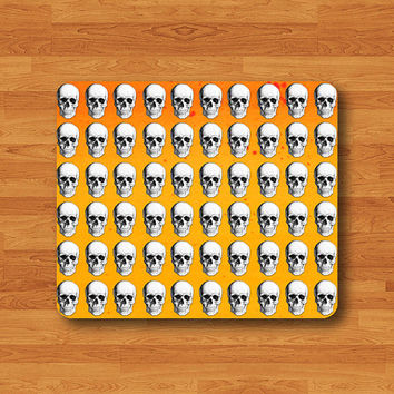 Horror HALLOWEEN Humal Skull Orange Mouse Pad Scarly Hipster MousePad Work Rubber Pad Mat Rectangle Personal Gift Ecofriendly New Year Gift