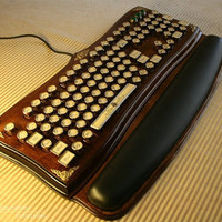 "Steampunk Victorian ""Diviner"" Keyboard WITH Wrist Rest by Datamancer"