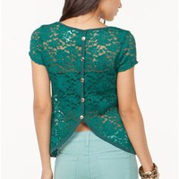 A'GACI Tulip Button Back Lace Top - TOPS